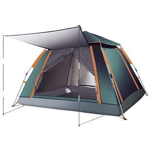 帳篷户外野營加厚黑膠全自動速開4-6人家用沙灘遮陽防雨露營賬蓬