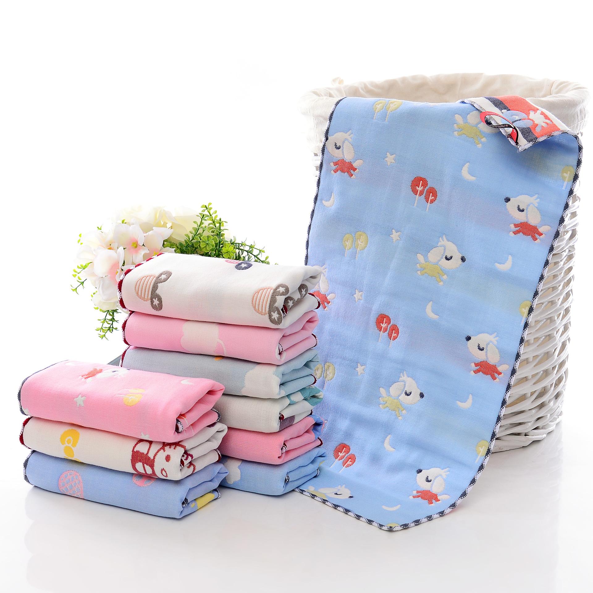 儿童毛巾纯棉洗脸家用可爱卡通挂式长方形纱布全棉柔软吸水小毛巾