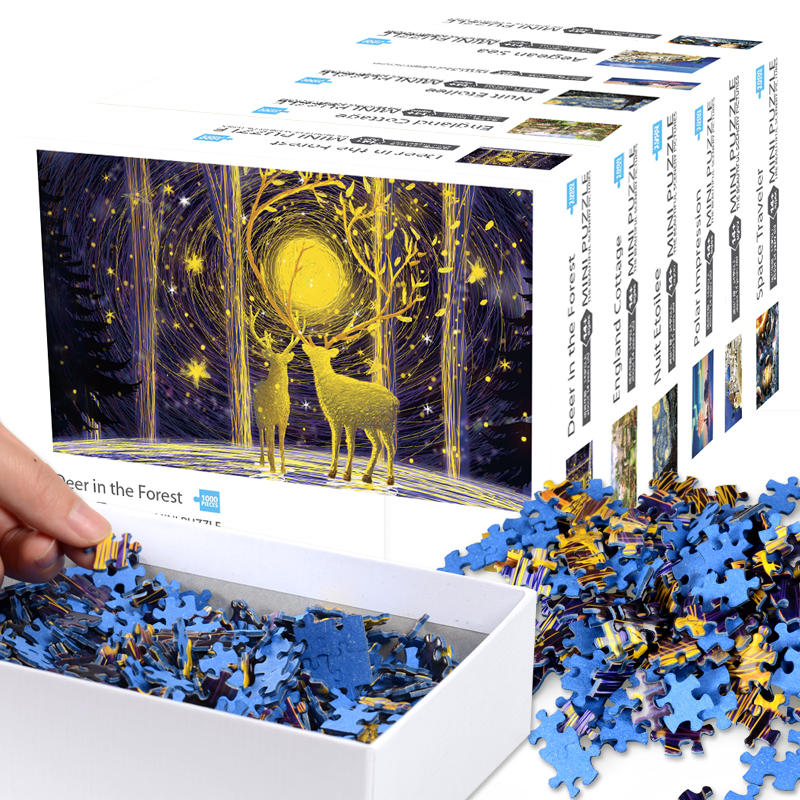 Adult Mini super difficult 1000 pieces puzzle puzzle puzzle toys boys and girls elk pure white hell Sky Festival ceremony