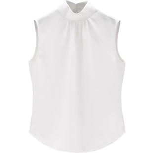 立領襯衫女設計感小眾新款韓版雪紡無袖襯衣女白色職業裝內搭上衣