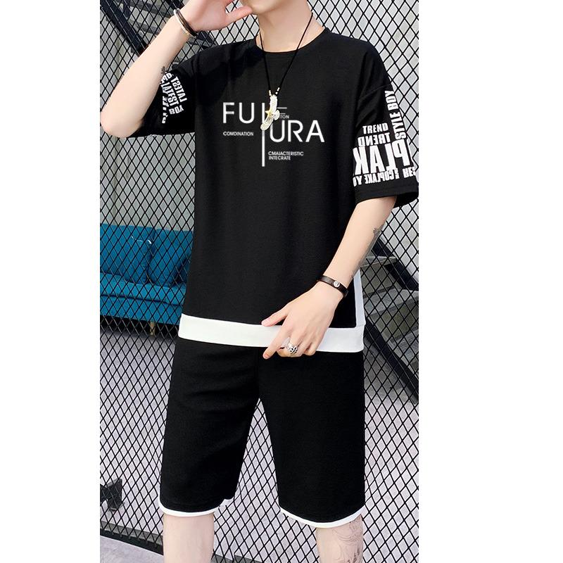 休闲运动套装男士五分袖韩版潮流短袖t恤ins潮牌夏季薄款两件套男