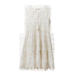 雪紡連衣裙女夏2020年新款夏天小個子寬鬆背心裙氣質初戀小白裙