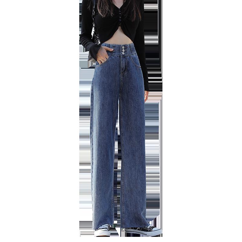 2020年秋季新款多排扣直筒显瘦阔腿长裤