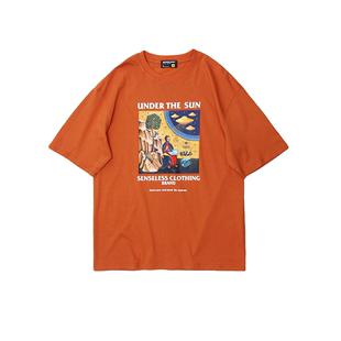 夏季2020新款橙色短袖t恤女ins酷潮衣服寬鬆百搭學生潮牌半袖上衣