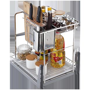 納童櫥櫃調味籃廚房調味拉籃304不鏽鋼廚櫃調味架抽屜式緩衝阻尼