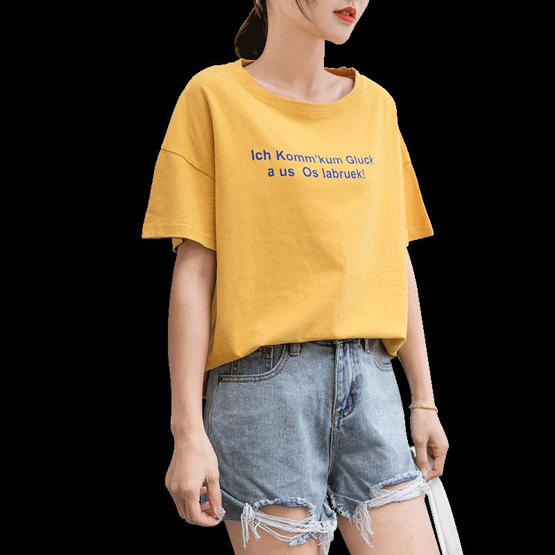 短袖t恤女2019春夏装新款纯棉韩版百搭宽松网红ins白色港风半袖潮