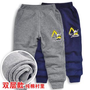 挖掘機男童運動褲寶寶褲子雙層可開襠寬鬆高腰春秋純棉襯裏不起球