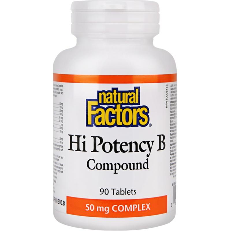 NaturalFactors 复合维生素B族成人补充维B6 B12减压熬夜必备90片