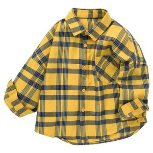 巴拉巴拉男童长袖秋装格子纯棉衬衫