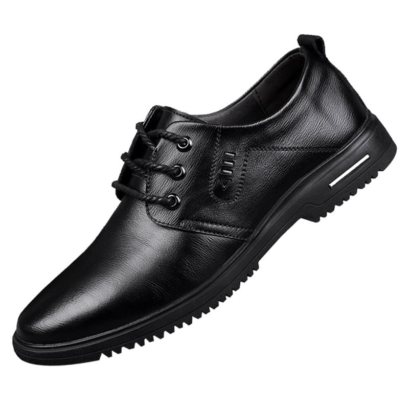 皮鞋男真皮秋季英伦软底内增高男士休闲鞋黑商务正装夏季鞋子男鞋