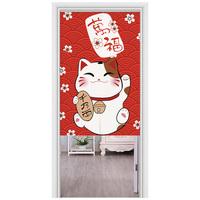 猫咪日式门帘半帘装饰隔断帘布艺卧室厨房风水帘魔术贴免打孔布帘