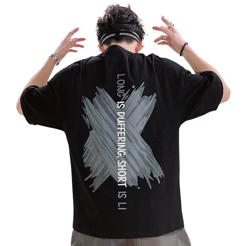 男士短袖t恤2019新款潮流 潮牌夏季上衣服男夏季装打底衫帅气体恤