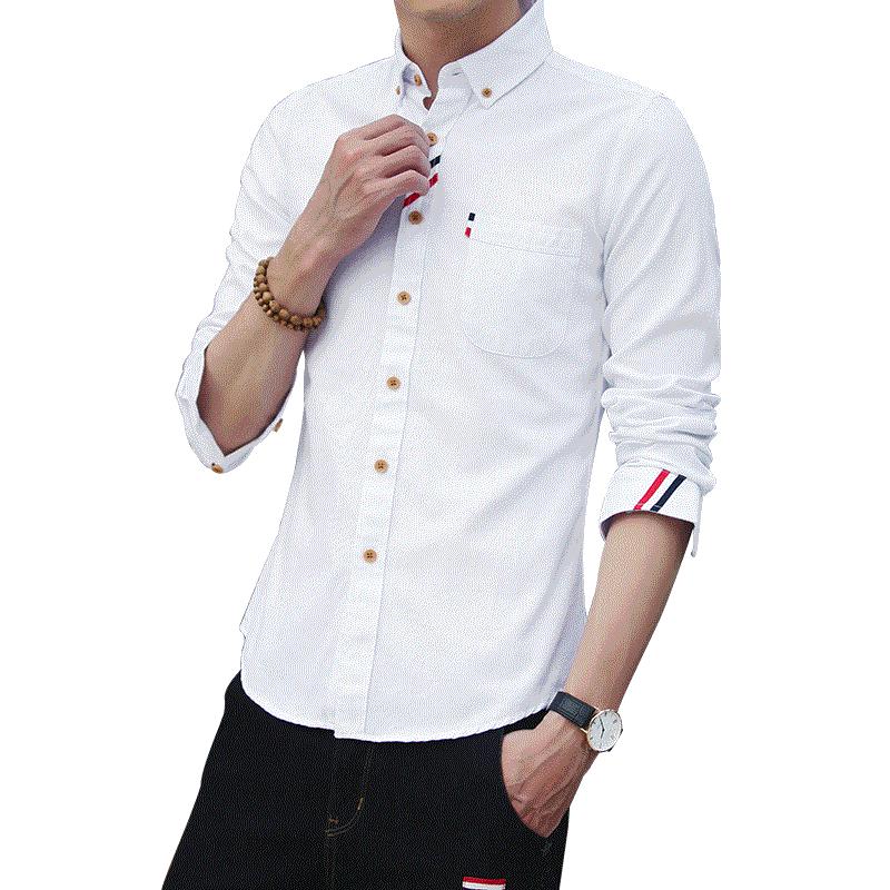 2019秋季新款男士衬衫韩版修身时尚休闲男衬衣服装商务潮流上衣