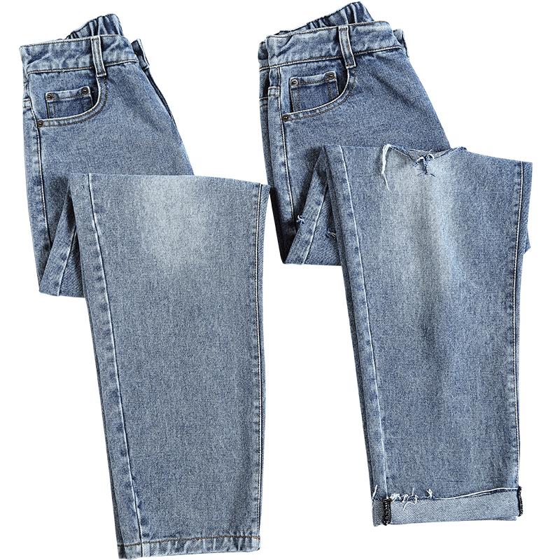 韩版高腰显瘦老爹牛仔裤##春季巨显好身材