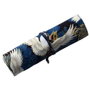 日系中国风烫金帆布艺笔帘简约笔袋