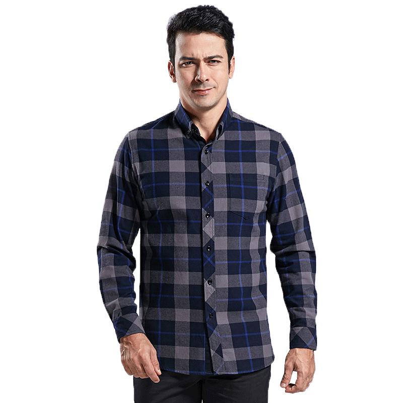 南极人秋冬季新款男士长袖衬衫纯棉加厚磨毛中老年格子爸爸装衬衣