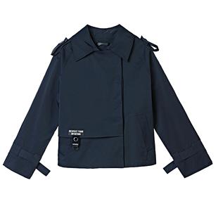 sdeer聖迪奧女裝休閒翻領字母貼布創意搭片純色外套S19382206