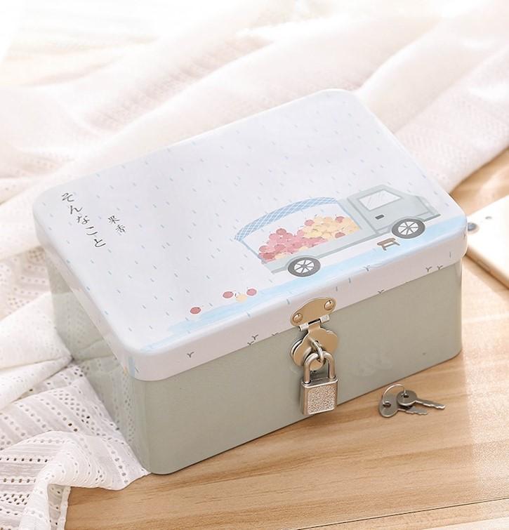 。卡通保险箱子方形大中小号礼物密码锁带锁收纳铁盒子有锁零钱钱