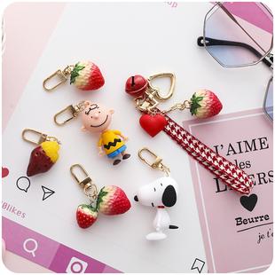 可愛少女心仿真個性小草莓創意鑰匙扣ins網紅書包掛件情侶汽車