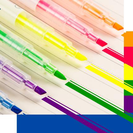 14支荧光笔标记笔学生用记记号笔