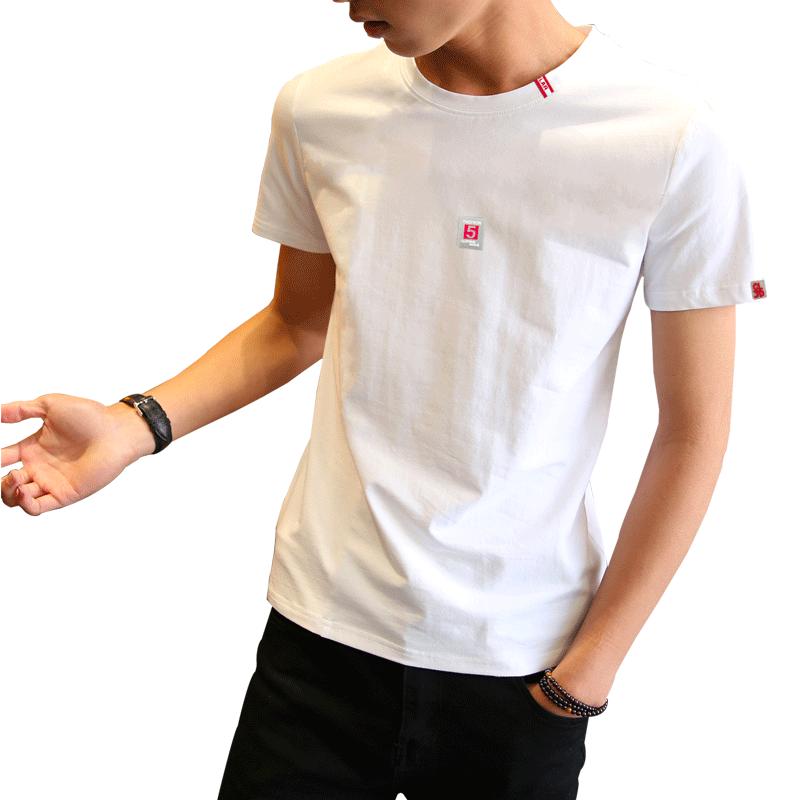 2019男士短袖t恤圆领修身上衣夏季韩版纯棉内搭白体恤男装半袖潮