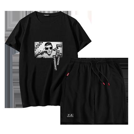 男装夏天休闲套装短裤两件套运动裤