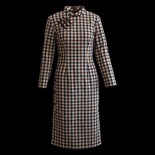 筠雅改良版旗袍連衣裙格子加棉襖加厚保暖復古修身中式中國風女裝