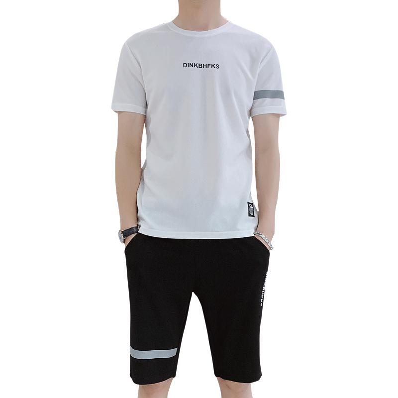 网红短袖t恤男士速干韩版潮流男装一套搭配帅气衣服休闲运动套装