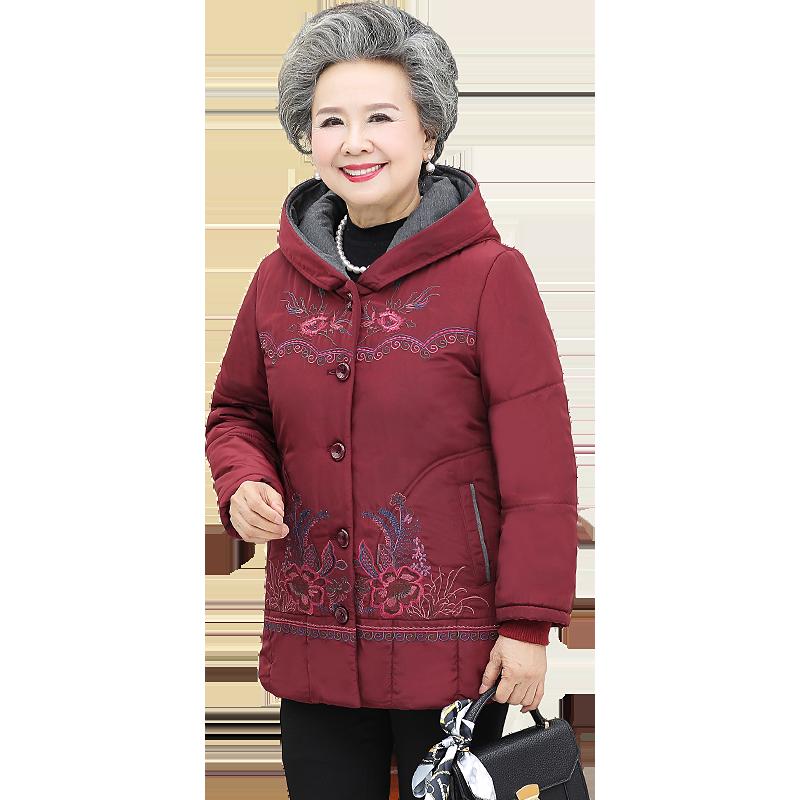 中老年人秋冬连帽棉服女妈妈装60-70岁80宽松棉袄奶奶装老人衣服