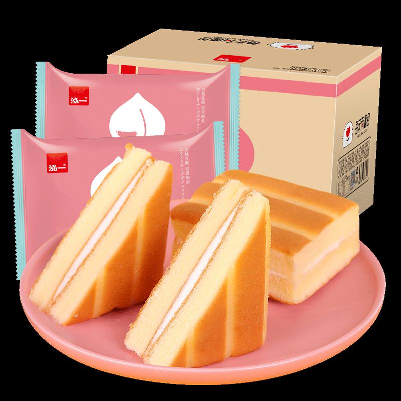 泓一白桃小方蛋糕早餐面包800g