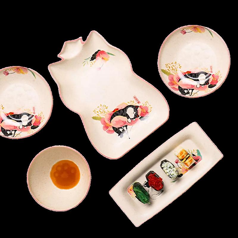 硕加吾皇万睡日式餐具碗碟套装家用陶瓷碗筷盘子创意个性汤面饭碗