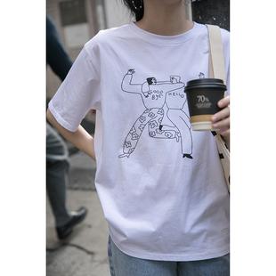 覓定白色t恤女夏短袖2020年新款韓版寬鬆短款上衣設計感小眾ins潮