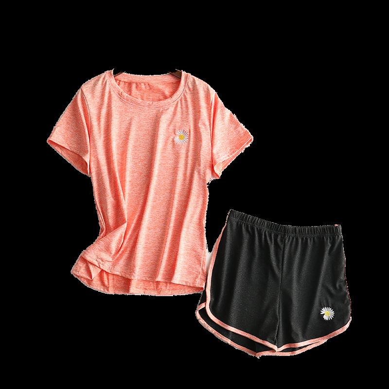 小雏菊速干衣运动风套装女ins女夏季健身瑜伽服宽松t袖短裤两件
