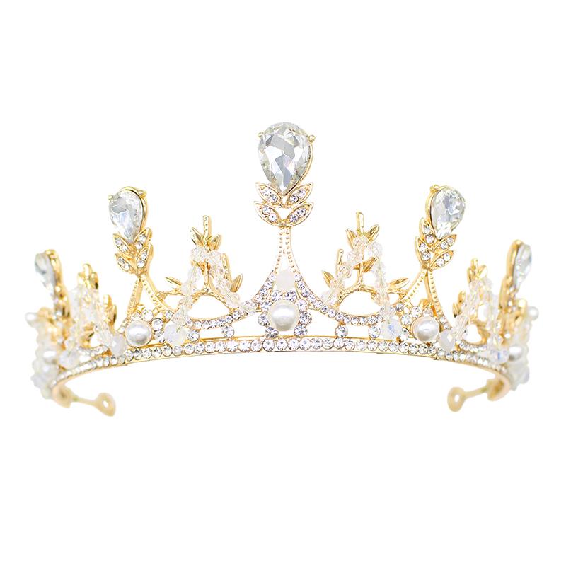 皇冠新娘头饰婚纱三件套大气结婚头冠头纱配饰发女十八岁生日王冠