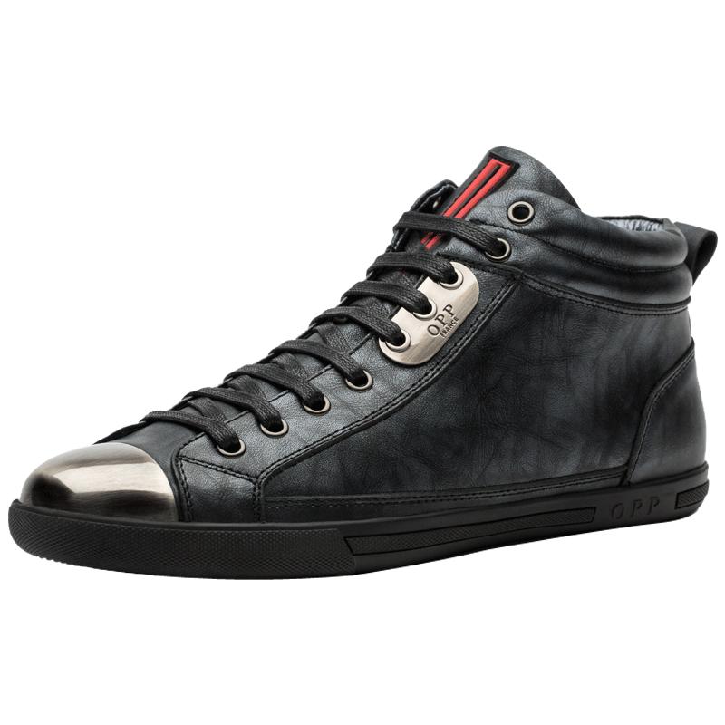 【OPP】真皮英伦时尚高帮板鞋