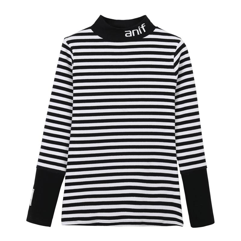 黑白条纹半高领打底衫女长袖T恤秋冬2020新修身上衣韩版针织内搭