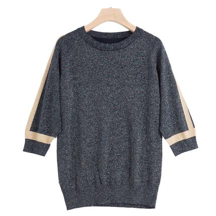 黑色短袖针织韩版冰丝宽松短款t恤