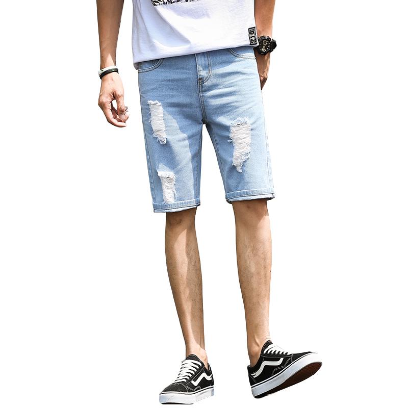 夏季破洞薄款五分牛仔裤男短裤