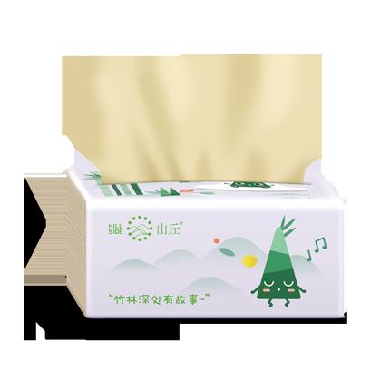 山丘100%竹浆无香抽取式家用餐巾纸