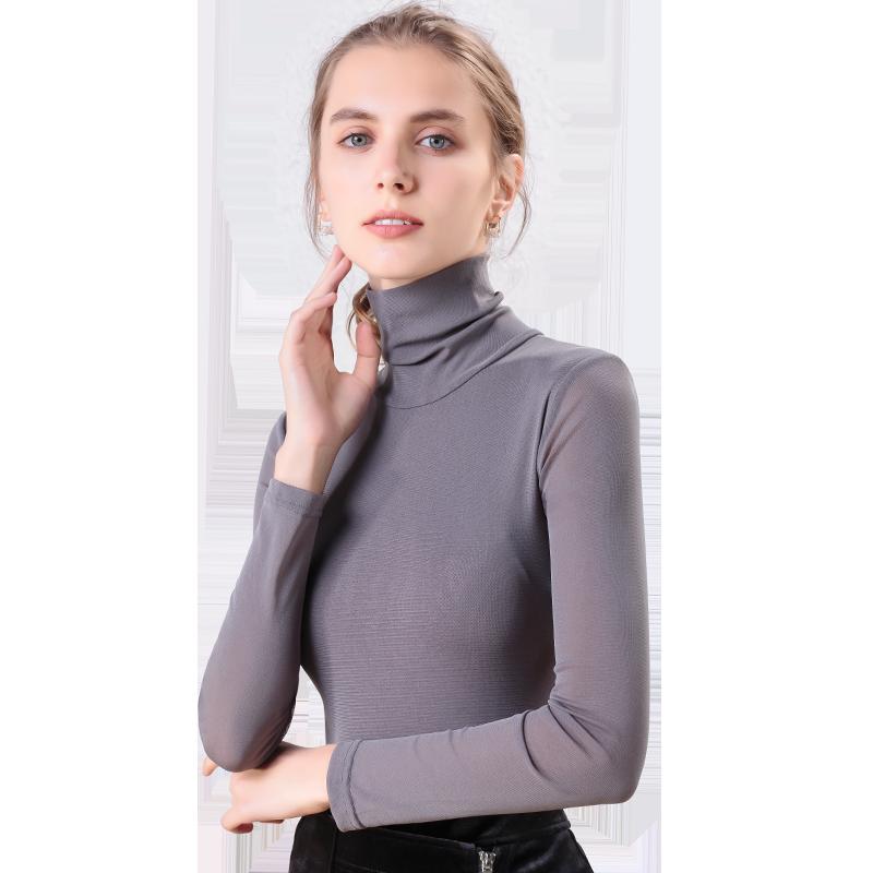 2019秋装新款高领网纱打底衫女长袖 修身显瘦t恤黑色内搭洋气小衫