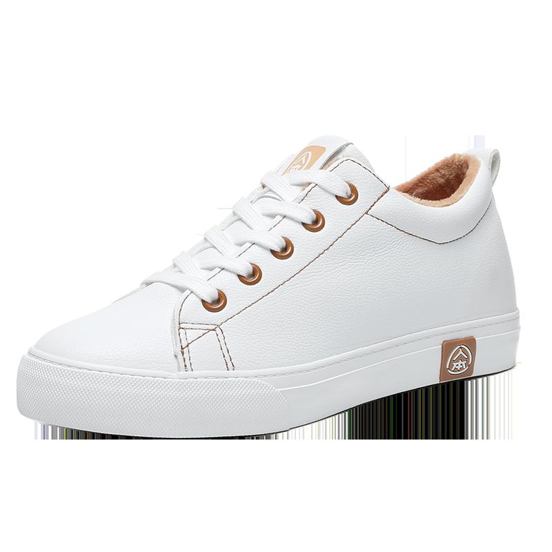 【人本】新款内增高加绒小白鞋