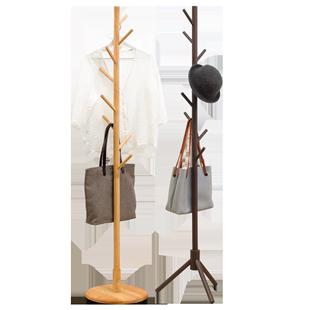 木馬人實木衣帽架落地簡約現代卧室掛衣架子簡易衣服收納家用置物