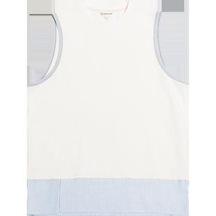 COKEIN夏裝潮牌假兩件無袖背心男生拼接寬鬆個性百搭運動汗衫純棉