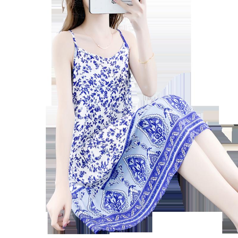 吊带睡衣裙女夏季薄款性感一字肩棉绸家居服时尚外穿人造棉连衣裙