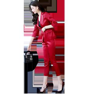 小西裝套裝女春秋時尚2020新款職業氣質ol洋氣港風小腳褲兩件套潮