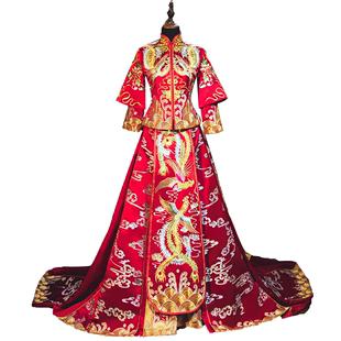 秀禾服新娘中式禮服2020新款結婚敬酒服婚紗古裝嫁衣龍鳳褂拖尾女