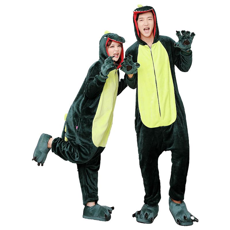 动物卡通连体睡衣情侣动漫冬恐龙猫可爱女学生加厚男法兰绒家居服