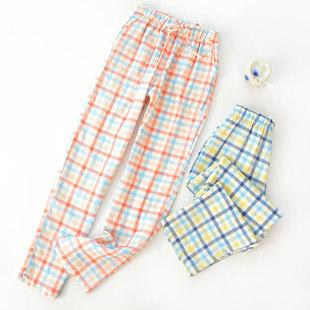 春秋睡裤纯棉宽松日系格子空调裤