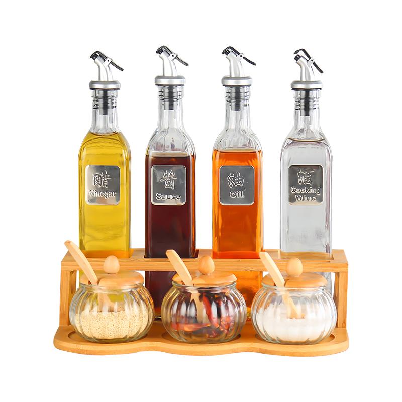 玻璃油瓶套装防漏圆形卡扣厨房酱油醋倒油瓶芒果蓝莓汁饮料瓶家用