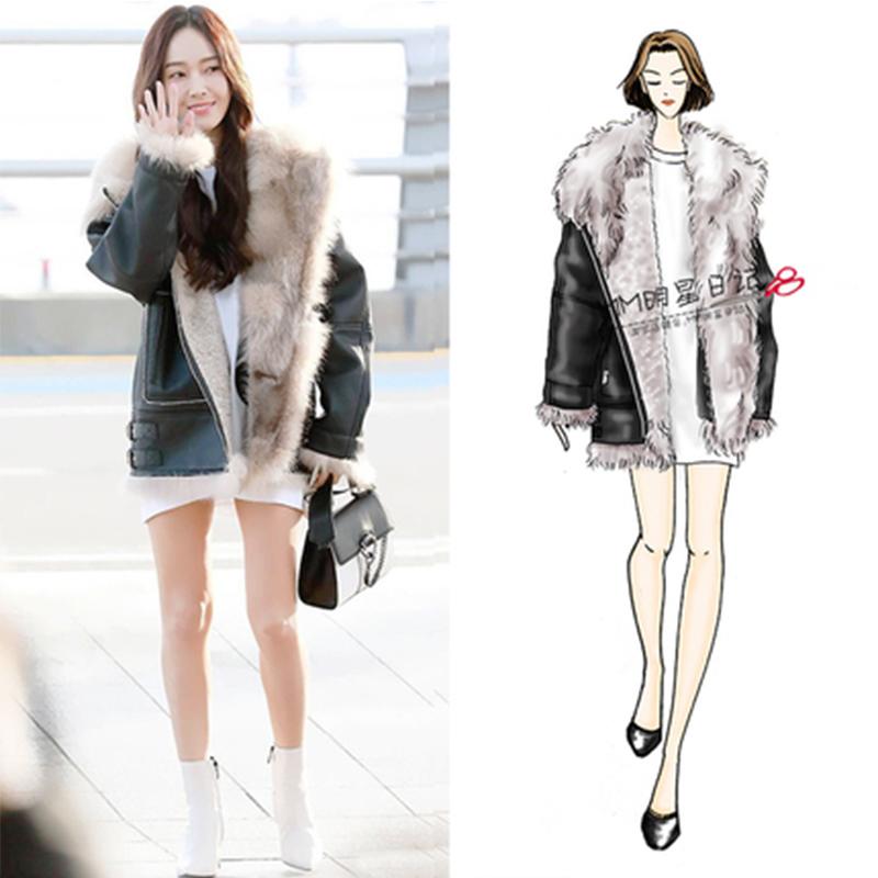 2020春季新款郑秀妍同款韩版宽松皮毛一体毛领羊羔毛短外套女装